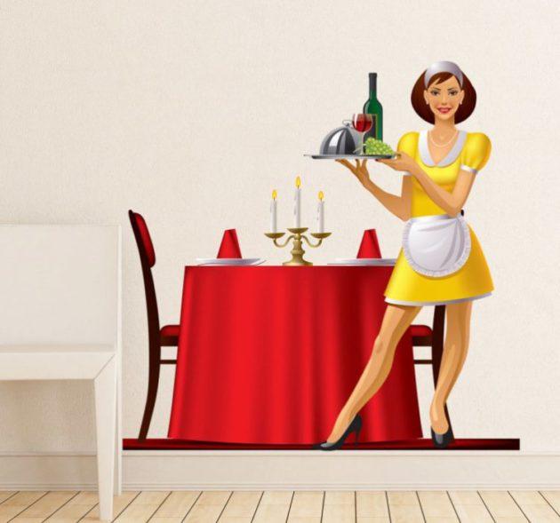sticker-decoratie-restaurant-serveerster-5532-750x701